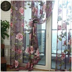 100x200cm Flowers Printed Sheer Window Curtains Tulle Door Room Window Screen