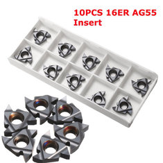 Drillpro 10pcs 16ER AG55 Tungsten Steel Inserts External Turning Tool Holder Inserts