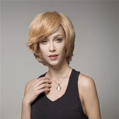 Elegant Short Wave Human Hair Wig Virgin Mono Top Remy Side Bang Capless