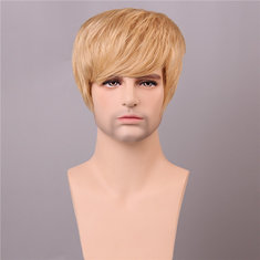 Human Hair Wig Men Short Mono Top Male Virgin Remy Capless Side Bang Golden Brown with Blonde