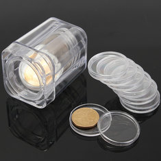 Plastic Clear Commemorative Coin Collection Tube With 10Pcs Small Round Box