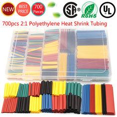 New 700pcs 8 Sizes Polyethylene Heat Shrink Tubing Assorted Connectors Box Kit
