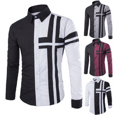 Men Spring Fall Cotton Polyester Cross-shaped Color Patchwork Two-tone Button Long-sleeved Shirt