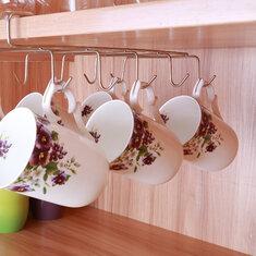 12 Hooks Stainless Steel Kitchen Storage Rack Cupboard Hanging Hook Shelf Dish Hanger Chest Storage
