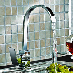 Kitchen Sink Faucet Mixer Tap Swivel Spout Chrome Brass Square Single Lever Mono