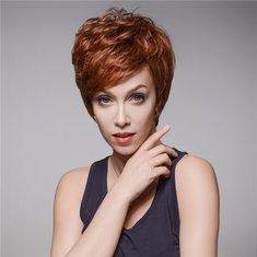 4.72 inch Natural Short Human Hair  Wigs Side Bang Mono Top Capless 13 Colors Full Wig Charming