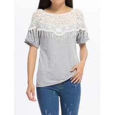 Lace Hollow Out Stitching Bat Sleeve Cotton Blouse For Female