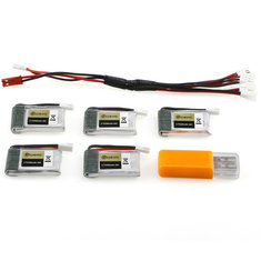 5PCS Eachine E010S 3.7V 240mAh 45C Upgrade Battery USB Charger Set RC Quadcopter Spare Parts