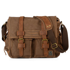 Men Canvas Genuine Leather Big Outdoor Casual Shoulder Crossbody Bag