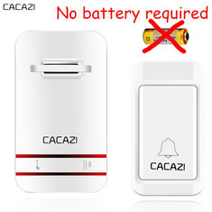 CACAZI Wireless DoorBell No Battery Need Waterproof Door Bell Cordless Remote AC 110V-220V EU US