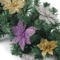 Christmas Decoration Flower Glitter Leaves Party Deocration