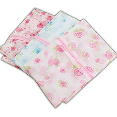 Floral Print Zip Up Mesh Clothes Protective Washing Laundry Bag