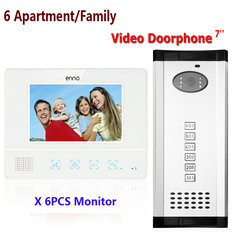 ENNIO SY811WMC16 6 Apartment Family Video Door Phone Intercom Waterproof Doorbell Camera 6 Monitors