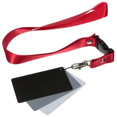 3 in 1 Digital 18 Percent Gray White Black Balance Card Set Photography Exposure with Neck Strap