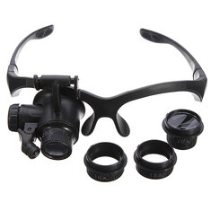4 Lens Headbrand LED Magnifier Magnifying Loupe Glass
