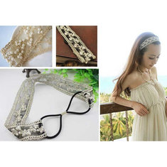 Sweet Lace Pearl Beads Wide Elastic Wrap Hair Band Headbrandd