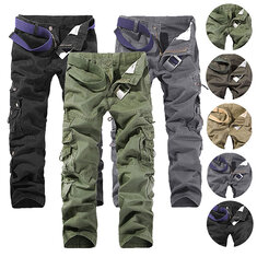 Mens Multi Pockets Pants Cotton Casual Cargo Pants