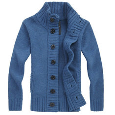 Fashion Mens Casual Cardigan Knitted Thicken Turtleneck Sweater