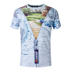 Mens Casual 3D Solid Zipper Digital City Street Painting Printing Short-sleeve T-shirt