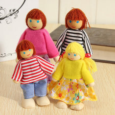4Pcs Kid Child Wooden Doll Toy Dressed Joint Family House Figures Dollhouse Set