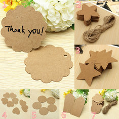 50pcs Brown Vintage Kraft Paper Tags Wedding Party Favour Gift Tags Cards With Twines