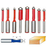 Original 8pcs 1/4 1/2 Inch Shank Dual Flutes Straight Router Bit Flush Trim Cutter Taladro Set