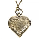 Original Vintage Bronze Heart Shaped Quartz Pocket Watch