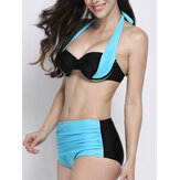 Women Sexy Color Block Strappy Halter Bikini Push Up Folder High Waisted Swimsuit