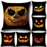 Original Halloween Horrible Pumpkin Light Pattern Pillowcase Cotton Linen Throw Pillow Cushion Cover Seat Home Decoration Sofa Decor