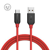 BlitzWolf® AmpCore BW-TC7 3A USB Type-C Braided Charging Data Cable 8.2ft/2.5m Magic Tape Strap