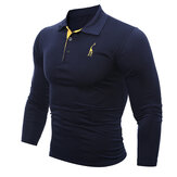 Fashion Deer Embroidered T-shirt Men's Casual Solid Color Slim Fit Long Sleeved T-shirt