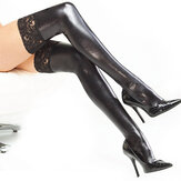 Women Patent Leather Sexy Stocking Black Lace Dance Socks Tight-fitting Adult Socks