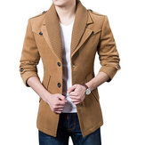 Autumn Winter Classic Lapel Coat Mens Single Breasted Casual Woolen Long Trench Coat