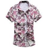 Mens Plus Size Printed Shirts Floral Pattern Casual Loose Short Sleeves Summer Beach Shirts