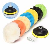 Drillpro 8Pcs 6 Inch Sponge and Woolen Polishing/Buffing Pad Kit For Car Polisher