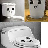 10PCS Cute Smiling Face Stickers Bathroom Waterproof Toilet Stickers Closestool Stickers