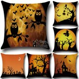 Original Halloween Bat Owl Pattern Pillowcase Cotton Linen Throw Pillow Cushion Cover Seat Home Decoration Sofa Decor