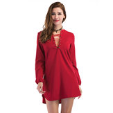 Original Casual Women Bandage V-neck Long Sleeve Pure Color Dresses