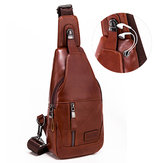 Original BULLCAPTAIN Men Genuine Leather Retro Casual Chest Bag Multifunctional Crossbody Bag