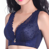 Plus Size Sexy Lace Embroidery Wireless Bra Deep V Full Cup Pure Color Thin Underwear