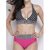 Sexy Swimsuit Halter Polka Dot Strap Spliced Padded Bikini Set
