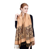 Original LYZA Women Classic Oversize Soft Scarves Winter Warm Jacquard Shawl Tassel Scarf