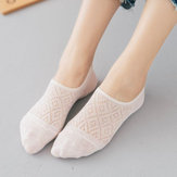Women Girls Summer Thin Hollow Breathable Boat Socks Soft Cotton Antiskid Invisible Socks