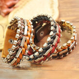 Original Vintage Unisex Leather Woven Geometry Multicolor Bracelet