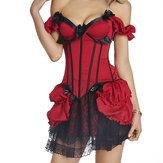 Sexy Court-style Off Shoulder Satin Overbust Corsets Push Up Bustiers For Woman