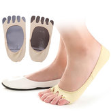 Women Summer Empty Five Toe Anti Skid Socks Soft Foot Cushion Sweat Invisible Sock