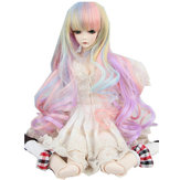 "Original New 8-9"" 22-24cm 1/3 BJD SD Doll Wig Pink Ombre Long Curly Hair Cosplay Wig"