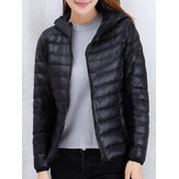 10 Colors Women Light Weight Pure Color Zipper Pocket Hooded Down Jacket