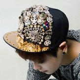 Hiphop Punk Rivet Baseball Flat Brim Hat