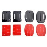 2 Flat and 2 Curved Adhesive Mounts With 3M Adhesive Pads For Gopro Xiaomi Yi SJ4000